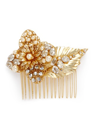 Main View - Click To Enlarge - Miriam Haskell - Swarovski crystal glass pearl floral leaf hair comb