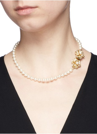 Miriam Haskell - Swarovski crystal glass pearl choker necklace