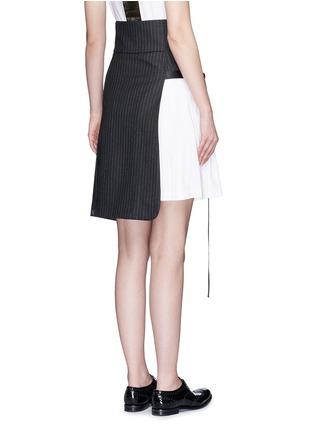 Back View - Click To Enlarge - Dkny - Asymmetric pleat buckle belt pinstripe wrap skirt