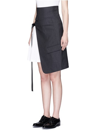 Front View - Click To Enlarge - Dkny - Asymmetric pleat buckle belt pinstripe wrap skirt