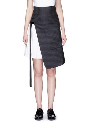Main View - Click To Enlarge - Dkny - Asymmetric pleat buckle belt pinstripe wrap skirt