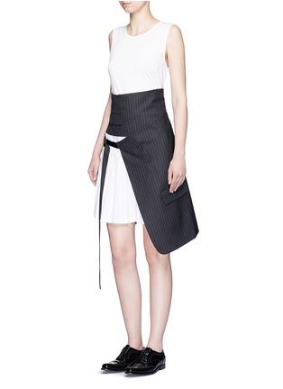 Figure View - Click To Enlarge - Dkny - Asymmetric pleat buckle belt pinstripe wrap skirt