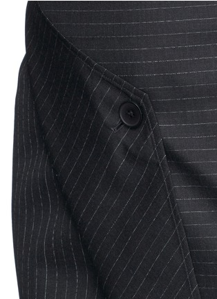 Detail View - Click To Enlarge - Dkny - Asymmetric fold wrap pinstripe pencil skirt