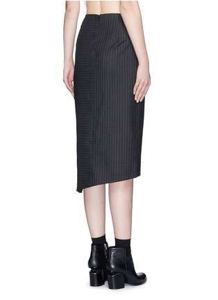 Back View - Click To Enlarge - Dkny - Asymmetric fold wrap pinstripe pencil skirt
