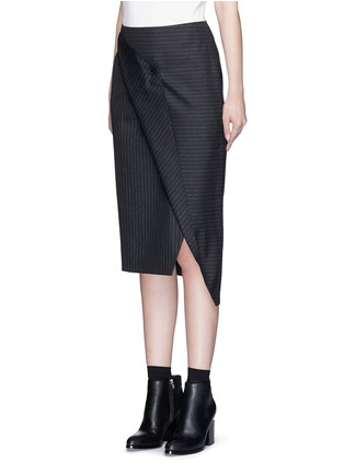 Front View - Click To Enlarge - Dkny - Asymmetric fold wrap pinstripe pencil skirt