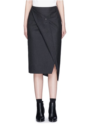 Main View - Click To Enlarge - Dkny - Asymmetric fold wrap pinstripe pencil skirt