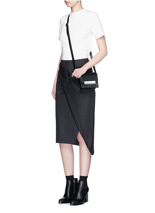 Figure View - Click To Enlarge - Dkny - Asymmetric fold wrap pinstripe pencil skirt