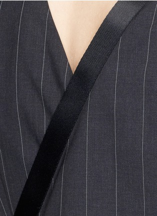 Detail View - Click To Enlarge - Dkny - Buckle wrapover apron sleeveless pinstripe top