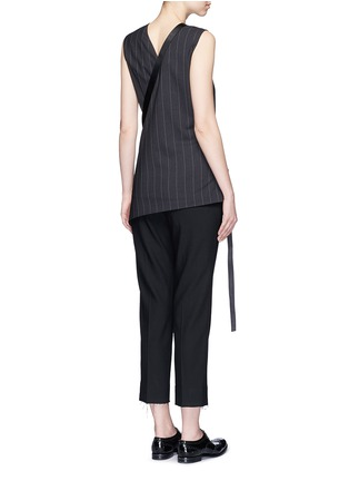 Back View - Click To Enlarge - Dkny - Buckle wrapover apron sleeveless pinstripe top