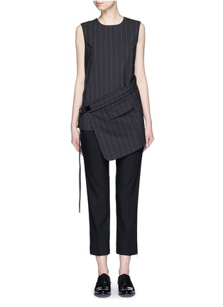 Main View - Click To Enlarge - Dkny - Buckle wrapover apron sleeveless pinstripe top