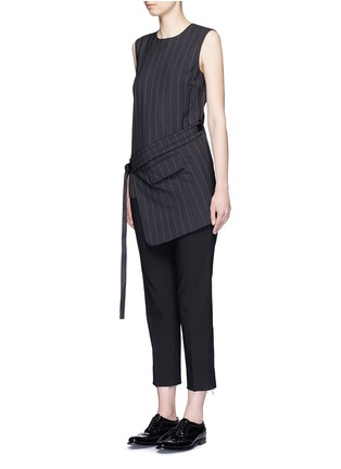 Figure View - Click To Enlarge - Dkny - Buckle wrapover apron sleeveless pinstripe top