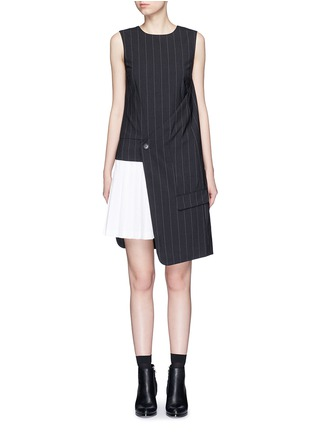 Dkny - Asymmetric pleat underlay fold wrap pinstripe dress