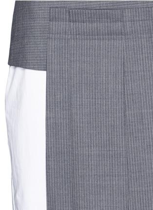Dkny-Asymmetric pleat overlay sleeveless pinstripe dress