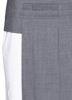 Asymmetric pleat overlay sleeveless pinstripe dress