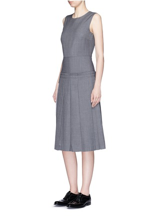 Figure View - Click To Enlarge - Dkny - Asymmetric pleat overlay sleeveless pinstripe dress
