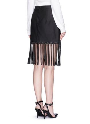 Back View - Click To Enlarge - Alexander Wang  - Leather fringe hem high waist twill mini skirt