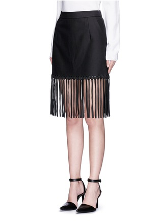 Front View - Click To Enlarge - Alexander Wang  - Leather fringe hem high waist twill mini skirt