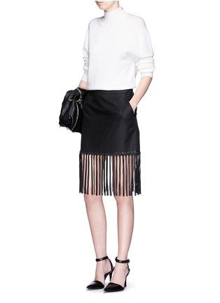 Figure View - Click To Enlarge - Alexander Wang  - Leather fringe hem high waist twill mini skirt