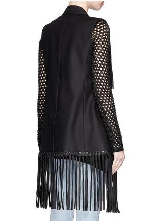Back View - Click To Enlarge - Alexander Wang  - Leather fringe cotton vest