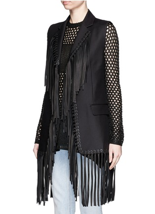 Front View - Click To Enlarge - Alexander Wang  - Leather fringe cotton vest