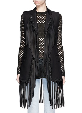 Main View - Click To Enlarge - Alexander Wang  - Leather fringe cotton vest