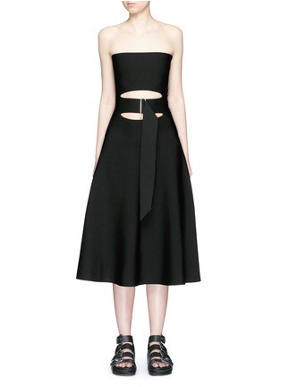 Main View - Click To Enlarge - Alexander Wang  - Belted cutout strapless knit dress