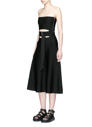 Figure View - Click To Enlarge - Alexander Wang  - Belted cutout strapless knit dress