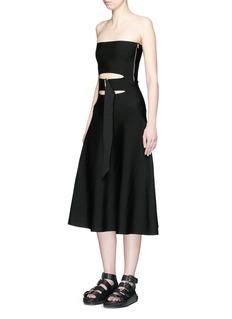 ALEXANDER WANG Belted cutout strapless knit dress