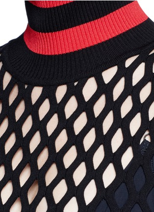 Alexander Wang  - Stripe turtleneck split mesh top