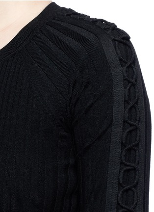 Detail View - Click To Enlarge - Alexander Wang  - Flightsuit lacing engineered rib knit sweater
