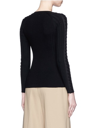 Back View - Click To Enlarge - Alexander Wang  - Flightsuit lacing engineered rib knit sweater
