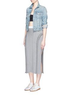 ALEXANDER WANG Frilled trim panelled knit skirt