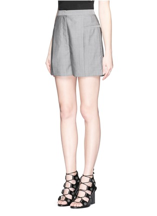 Front View - Click To Enlarge - Alexander Wang  - Pleated front wool-mohair shorts
