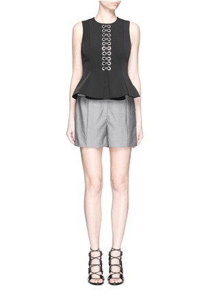 Figure View - Click To Enlarge - Alexander Wang  - Pleated front wool-mohair shorts