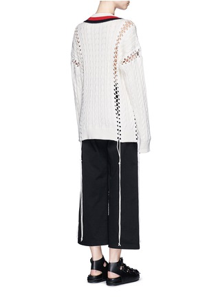 Back View - Click To Enlarge - Alexander Wang  - Flightsuit lacing cricket cable sweater