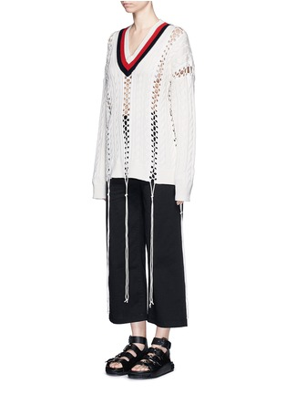 Figure View - Click To Enlarge - Alexander Wang  - Flightsuit lacing cricket cable sweater