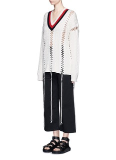 ALEXANDER WANG Flightsuit lacing cricket cable sweater