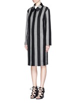 Micro houndstooth stripe wool car coat