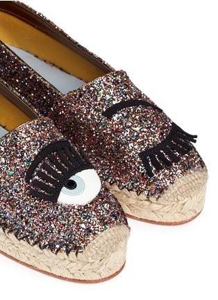 Detail View - Click To Enlarge - Chiara Ferragni - 'Flirting' eye wink appliqué glitter espadrilles