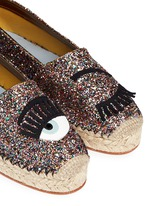 'Flirting' eye wink appliqué glitter espadrilles