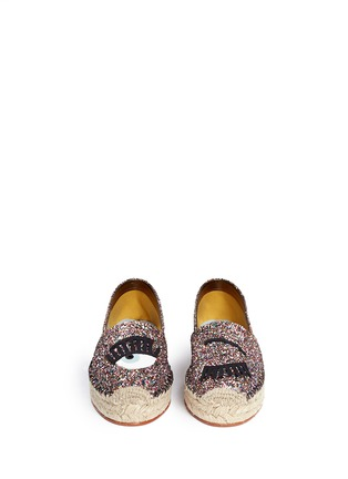 Front View - Click To Enlarge - Chiara Ferragni - 'Flirting' eye wink appliqué glitter espadrilles