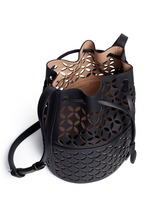 'Petale' lasercut matte leather bucket bag