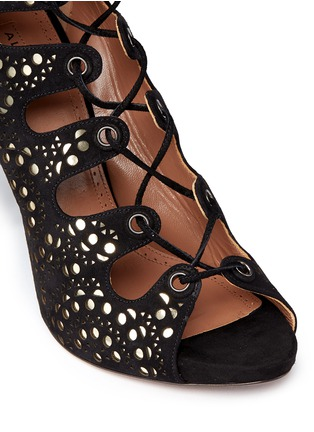 Detail View - Click To Enlarge - Alaïa - Geometric lasercut leather lace-up sandals