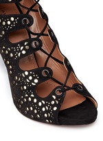 Geometric lasercut leather lace-up sandals