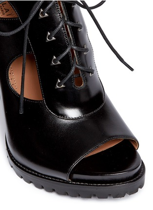 Detail View - Click To Enlarge - Alaïa - Cutout lace-up leather platform sandal boots