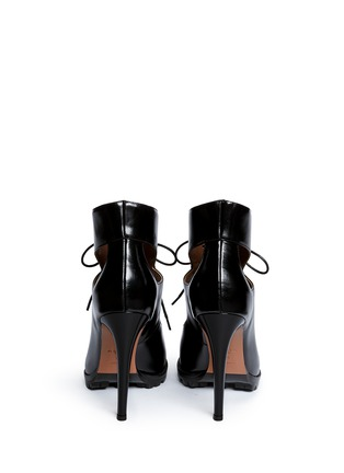 Back View - Click To Enlarge - Alaïa - Cutout lace-up leather platform sandal boots