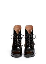 Cutout lace-up leather platform sandal boots