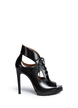 Main View - Click To Enlarge - Alaïa - Cutout lace-up leather platform sandal boots
