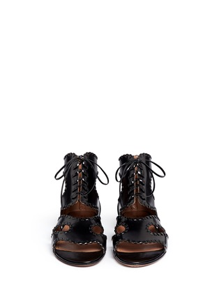 Front View - Click To Enlarge - Alaïa - Whipstitch leather gladiator sandals