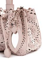 'Vienne' mini floral stud appliqué patent leather bucket bag